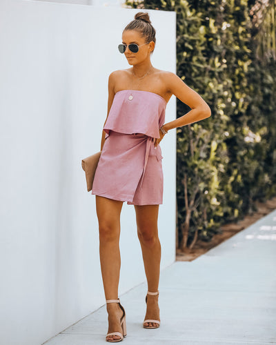 Evie Linen Blend Strapless Wrap Romper - Light Mauve