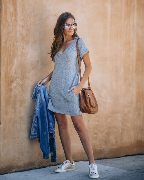 Came To Play Cotton Blend Pocketed T-Shirt Dress - Grey