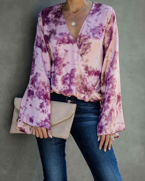 Ring A Bell Tie Dye Satin Drape Blouse