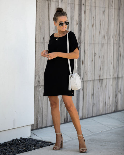 Nuts About You Pocketed Shift Dress - Black - FINAL SALE