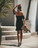Bellini Smocked Off The Shoulder Dress - Black - FINAL SALE