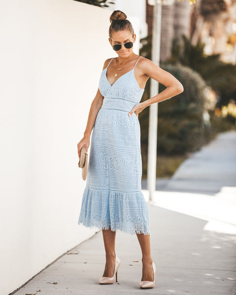 On Bended Knee Lace Dress - Light Blue - FINAL SALE