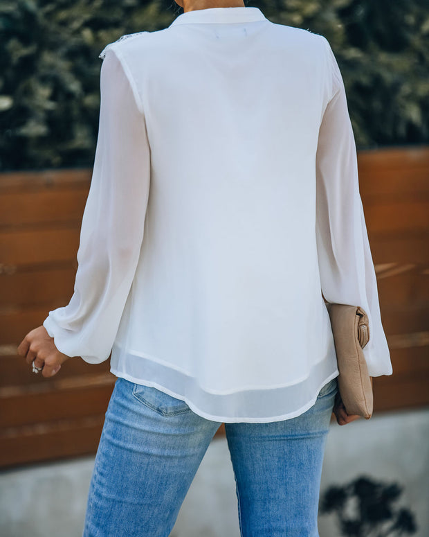 Treat You Right Lace Ruffle Button Down Blouse