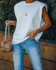 Zoe Padded Muscle Tee - White
