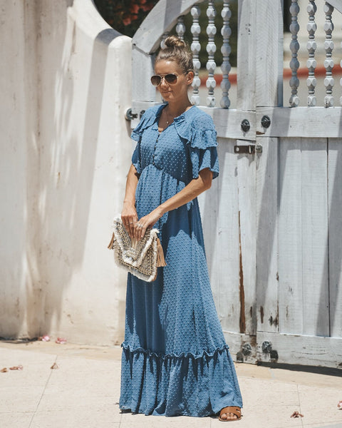 Simple Moments Swiss Dot Maxi Dress - Blue