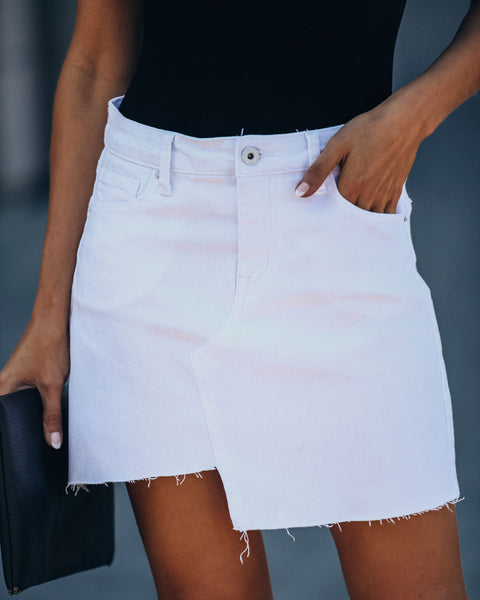 August Asymmetrical Frayed Denim Mini Skirt