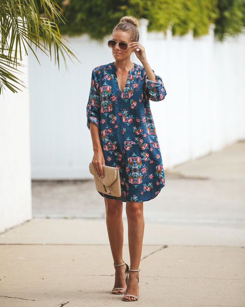 Corsage Floral Shift Dress
