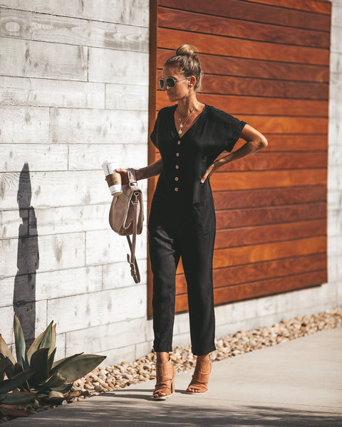 Take Flight Button Down Pocketed Jumpsuit - Black