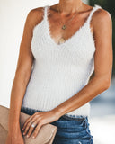 Ice Age Fuzzy Shimmer Knit Tank - Heavenly Sky - FINAL SALE
