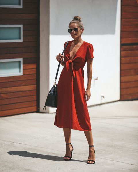 Cider Connect The Dots Tie Midi Dress - FINAL SALE