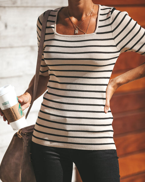 Square Bear Striped Knit Top