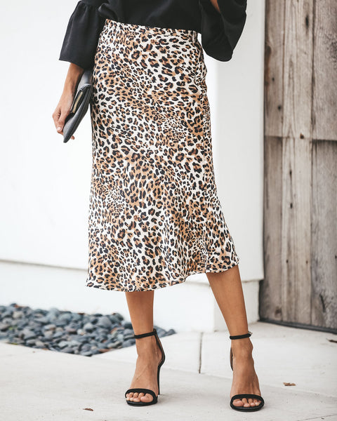 Back On The Prowl Leopard Satin Skirt