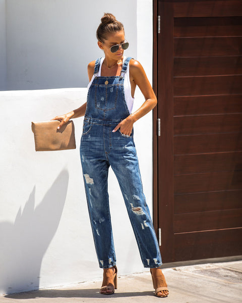 High Horse Pocketed Distressed Denim Overalls