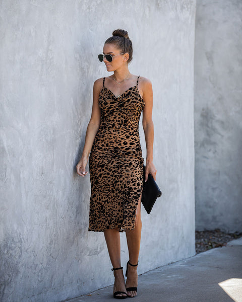 Kendra Velvet Burnout Leopard Midi Dress - FINAL SALE