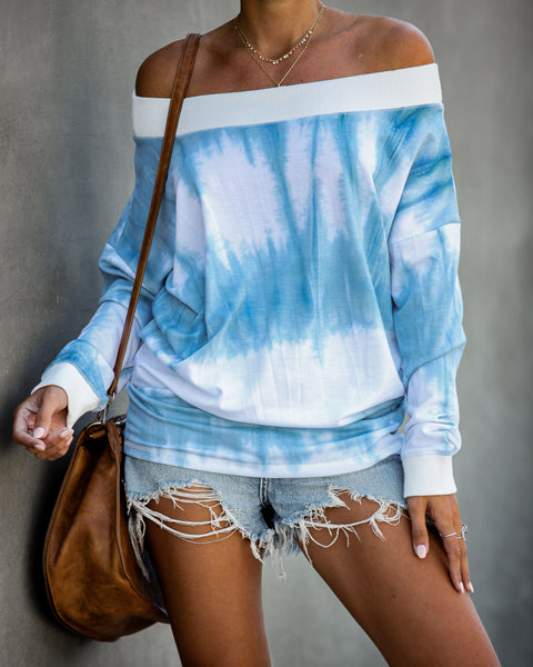 Talk To The Sky Off The Shoulder Tie Dye Pullover