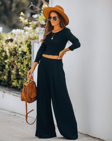 Hermosa Pocketed Ribbed Wide Leg Pants - Black