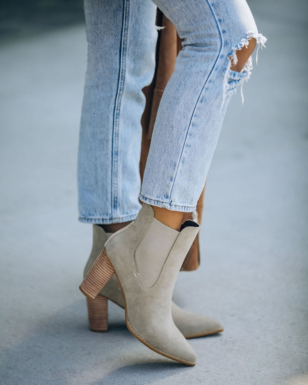 Uptown Faux Suede Heeled Bootie - Grey