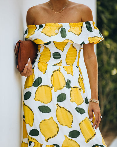 When Life Gives You Lemons Off The Shoulder Midi Dress - FINAL SALE