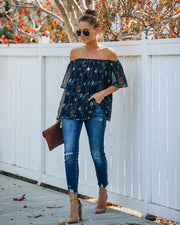 Hester Off The Shoulder Plisse Blouse