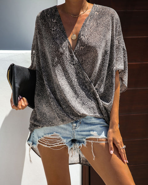 Diamondback Short Sleeve Drape Blouse