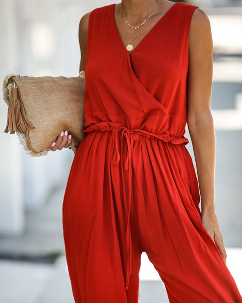 Road Less Traveled Pocketed Jumpsuit - Cinnamon - FINAL SALE
