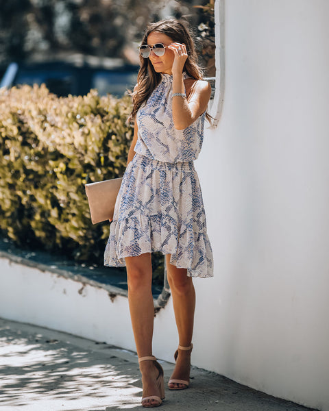Trust Us Snake Print Smocked Ruffle Dress