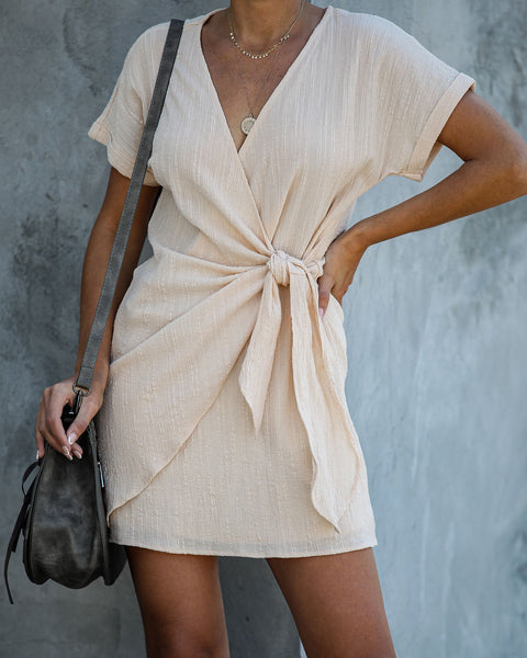 Kauai Crush Woven Wrap Dress - Beige