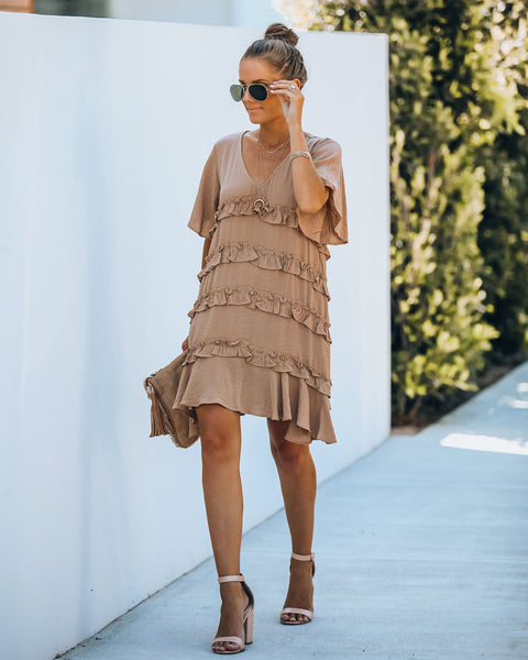 Foxtrot Ruffle Dress - Latte