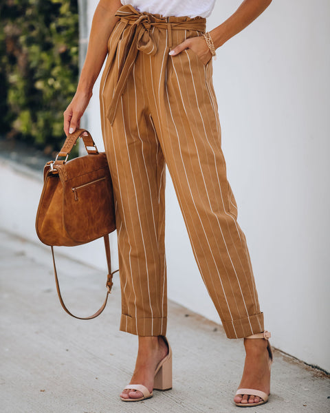 Divisadero Linen Blend Pocketed Striped Trousers