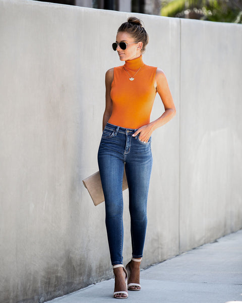 Color Trend Sleeveless Turtleneck Bodysuit