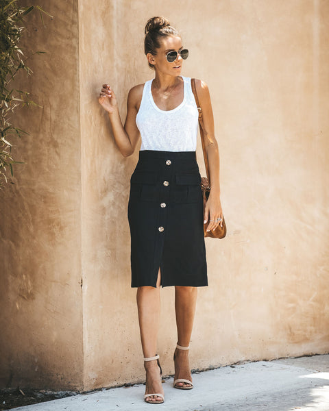 Explorer Cotton Pocketed Midi Skirt - Black