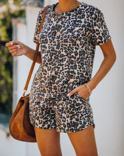 Alpha Short Sleeve Knit Leopard Top