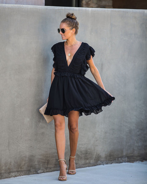 Sugar Rush Ruffle Dress - Black