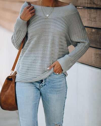 Jassy Ribbed Dolman Knit Sweater - Light Grey