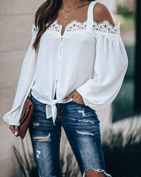 Blake Lace Cold Shoulder Tie Blouse - Off White - FINAL SALE
