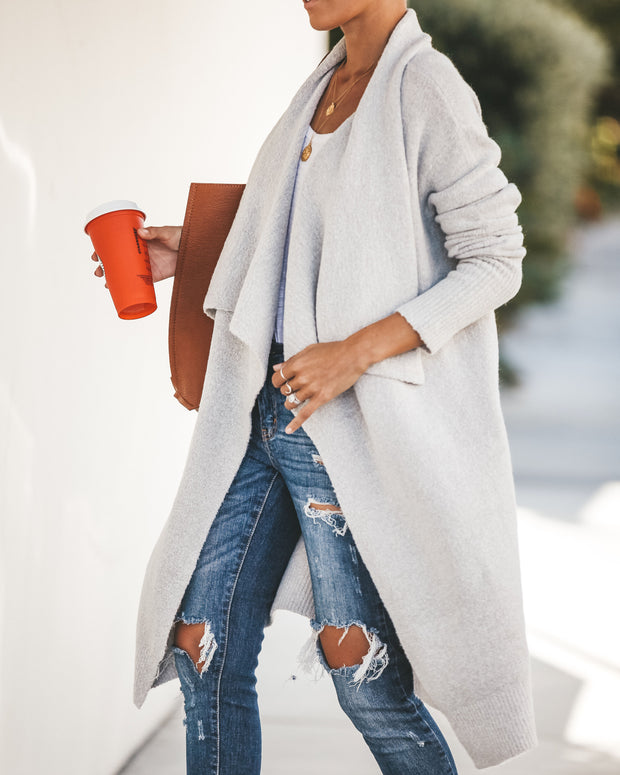 Fireside Pocketed Knit Cardigan - Heather Grey