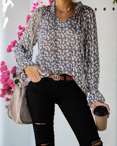 On My Mind Floral Shimmer Blouse - FINAL SALE