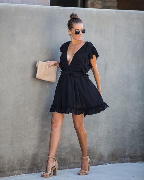 Sugar Rush Ruffle Dress - Black - FINAL SALE