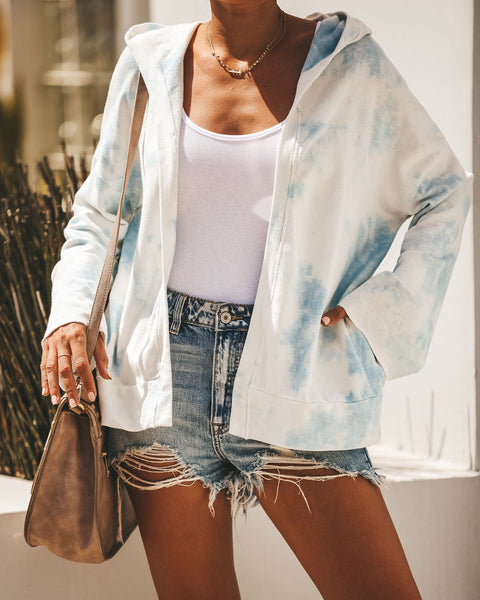 Candy Clouds Cotton Blend Pocketed Tie Dye Hoodie - Blue
