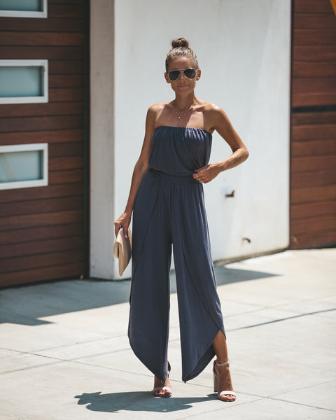 Berkeley Hills Strapless Tie Jumpsuit -Charcoal