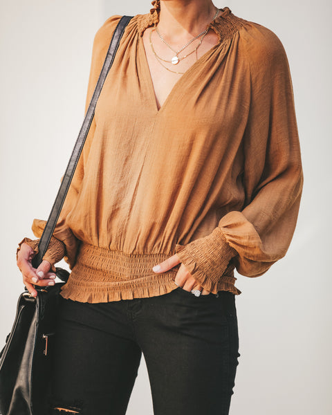 Nightingale Smocked Blouse - Camel