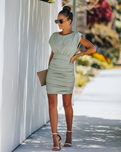Bobbi Ruched Dress - Sage