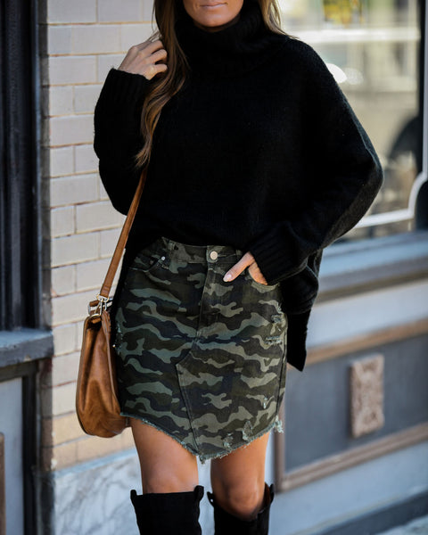Bleeding Love Cotton Pocketed Camo Skirt - FINAL SALE