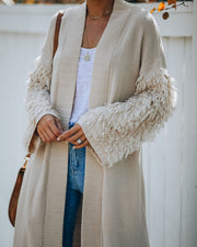 Tori Pocketed Shag Sleeve Knit Cardigan - FINAL SALE