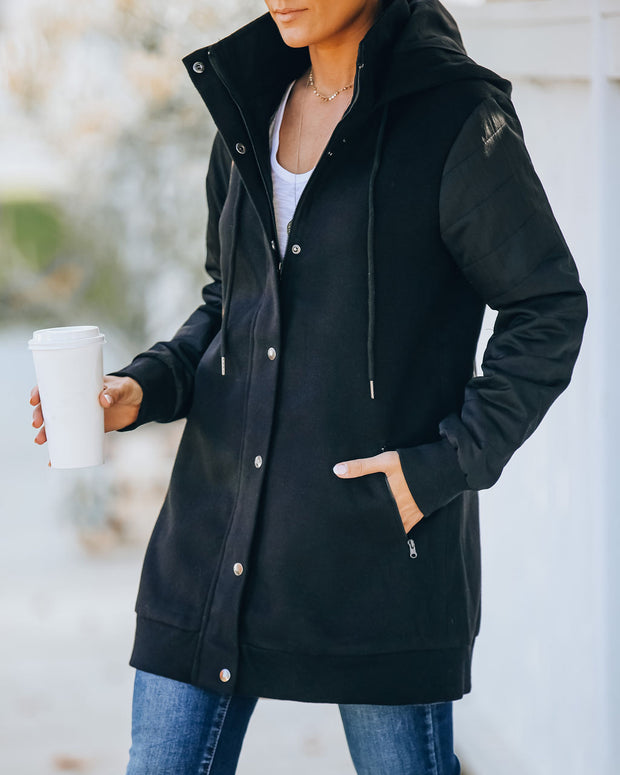 Benson Pocketed Hooded Puffer Sleeve Coat