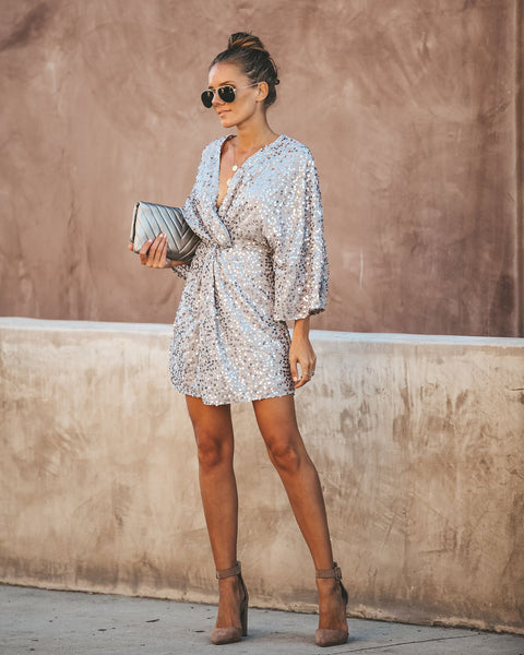 Sparks Fly Sequin Kimono Dress - Grey