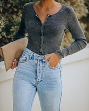 Rookie Washed Cotton Henley Bodysuit
