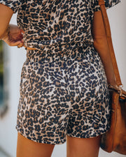 Alpha Pocketed Knit Leopard Shorts