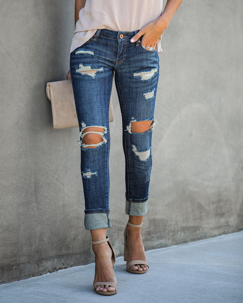 Unwritten Low Rise Distressed Cuffed Denim