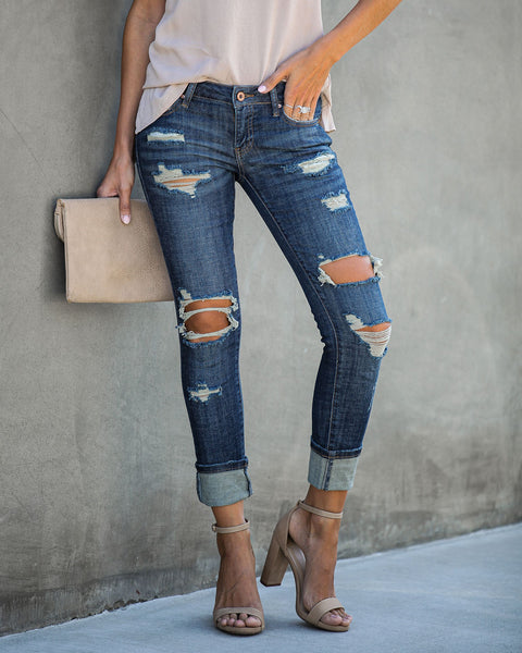 Unwritten Low Rise Distressed Cuffed Denim - FINAL SALE